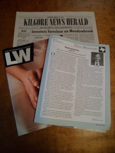 Kilgore's News Herald and the Texas District's Texas Messenger supplement to the LCMS's Luteran Witness are two of the various media that sometimes include news about Pilgrim Lutheran Church.